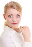 Portretonderneemster met pen. Elegant geïsoleerd vrouwen blond meisje Stock Fotografie