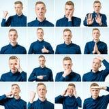 Portretten met verschillende emoties en gebaren stock fotografie