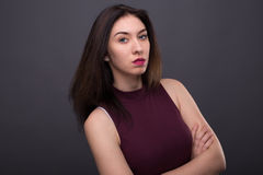 Portretten mooi meisje in de studio royalty-vrije stock foto's