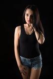Portretten mooi meisje in de studio stock foto