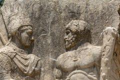 Portretten van Antiochus en Herakles bij de oude stad van Arsameia in Adiyaman, Turkije royalty-vrije stock fotografie