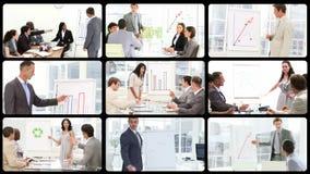 Portretten van bedrijfsmensen die presentatie doen stock video