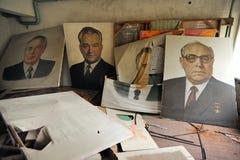 Portretten van de leiders van de Communistische Partij Sovjetunie stock foto's
