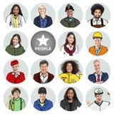 Portretten van Diverse Mensen met Verschillende Banen stock foto