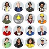 Portretten van Diverse Mensen met Verschillende Banen stock fotografie