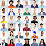 Portretten van het Multi-etnische Gemengde Concept van Beroepenmensen royalty-vrije stock fotografie
