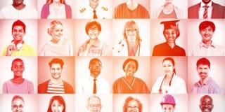 Portretten van het Multi-etnische Gemengde Concept van Beroepenmensen vector illustratie