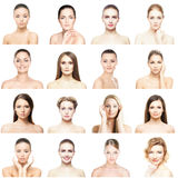 Portretten van jonge die vrouwen op wit worden geïsoleerd stock fotografie