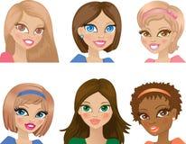 Portretten van jonge meisjes royalty-vrije illustratie