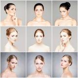 Portretten van jonge vrouwen in make-up stock afbeelding