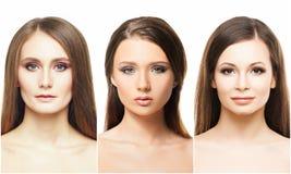 Portretten van jonge vrouwen in make-up stock fotografie