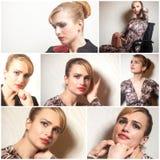 Portretten van mooie jonge vrouw collage stock foto