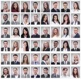 Portretten van succesvolle jonge zakenlieden op wit royalty-vrije stock afbeeldingen