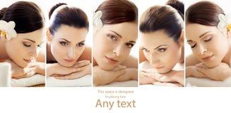 Portretten van verschillende vrouwen die het masseren van behandeling krijgen royalty-vrije stock afbeeldingen