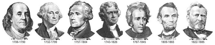 Portretten van voorzitters van dollars stock afbeelding