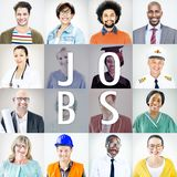 Portrety różnorodni ludzie z Różnymi pracami zdjęcie stock