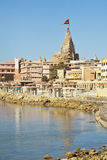 Dwarka Bay and Krisna Temple Royalty Free Stock Photo