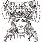 Portriat femminile dello sciamano Fotografie Stock