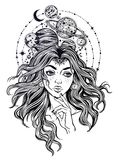 Portriat of the girl with curly hair, planets. Portriat of the pretty girl with curly hair, planets. Galaxy space inside her. Dotwork surreal flash design Royalty Free Stock Photos