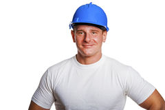 Portriat of man with helmet, worker white shirt. Isolated on white Royalty Free Stock Photos