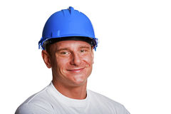 Portriat of man with helmet, worker white shirt. Stock Image