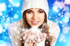Free Portriat Of A Young Woman In A Hoodie Holding Snow Royalty Free Stock Photos - 35805258