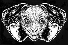 Reptilian space alien face in disguise as a boy. Portriat of the reptilian alien from outer space face in disguise as a human boy. UFO sci-fi, tattoo art Stock Images