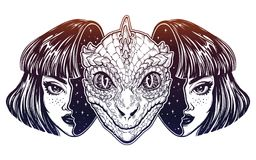 Reptilian space alien face in disguise as a girl. Portriat of the reptilian alien from outer space face in disguise as a human girl. UFO sci-fi, tattoo art Royalty Free Stock Image