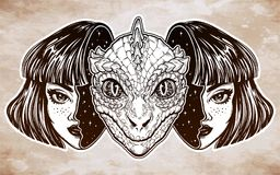 Reptilian space alien face in disguise as a girl. Portriat of the reptilian alien from outer space face in disguise as a human girl. UFO sci-fi, tattoo art Stock Image