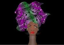 Portrportrait młodej Afrykańskiej kobiety kolorowy turban Opakunku Afro moda, Ankara, Kente, kitenge, Afrykańskie kobiety ubiera Obrazy Royalty Free