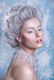 Porträt der schönen jungen Frau mit silbernen Weihnachtsbällen Fantasiemädchenporträt Winterfeenporträt Junge Frau mit kreativem  Stockfoto