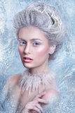 Porträt der schönen jungen Frau mit silbernen Weihnachtsbällen Fantasiemädchenporträt Winterfeenporträt Junge Frau mit kreativem  Stockfotografie