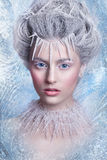 Porträt der schönen jungen Frau mit silbernen Weihnachtsbällen Fantasiemädchenporträt Winterfeenporträt Junge Frau mit kreativem  Stockbild