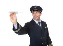Porträt des überzeugten Piloten Stockbild
