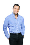 Porträt des jungen glücklichen lächelnden Geschäftsmannes, lokalisiert über Whit Stockfotos
