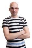 Porträt des kahlen Mannes mit dummer Grimasse Lizenzfreie Stockfotografie