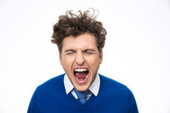 Porträt des Mannschreiens Stockbilder