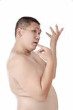 Porträt des molligen bloßen asiatischen Mannes wirft wie als schönes auf Stockfoto