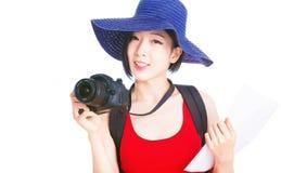 Porträt des Reisens der jungen Frau Lizenzfreies Stockfoto