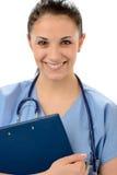 Porträt des weiblichen Arztes für Allgemeinmedizin in der Uniform Lizenzfreie Stockfotos