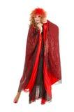Porträt-Dragqueen Frauen-in der roten Kleiderausführung Stockfotos