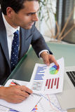 Porträt einer Verkaufsperson, die Statistiken studiert Lizenzfreies Stockbild