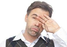 Porträt eines erschöpften Mannes Stockfotos