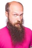 Porträt eines lustigen kahlen bärtigen Mannes Lizenzfreie Stockfotos