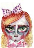 Porträt eines Mädchenschreiens mit großen Augen Stockfoto