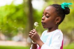 Porträt im Freien eines netten jungen schwarzen Mädchens, das einen Löwenzahn durchbrennt Stockbild