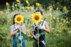 Porträt von den netten Mädchen, die hinter Sonnenblumen sich verstecken Lizenzfreie Stockfotos