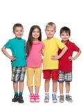 Porträt von vier kleinen Freunden Stockfotos