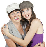 Portrtait of beautiful mother and daughter royalty free stock photo