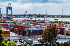Ports of Auckland Container Park royalty free stock photo